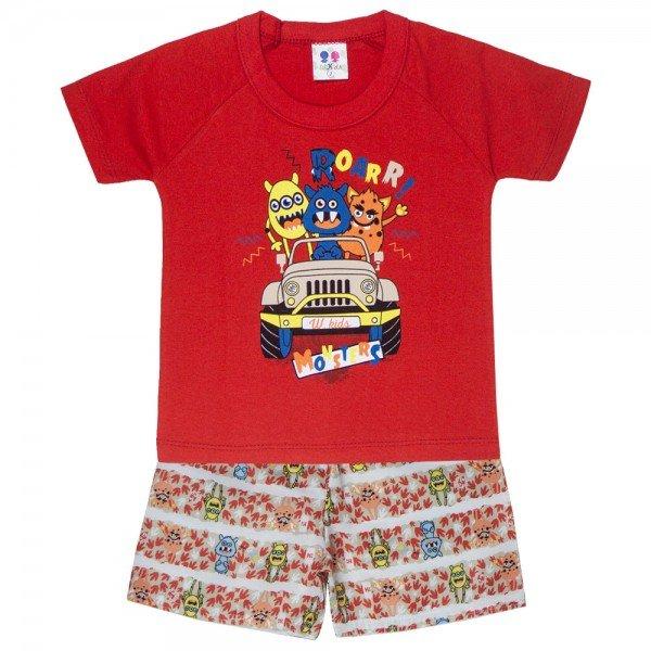 conjunto camiseta carro e bermuda moletinho vermelho 401 4696