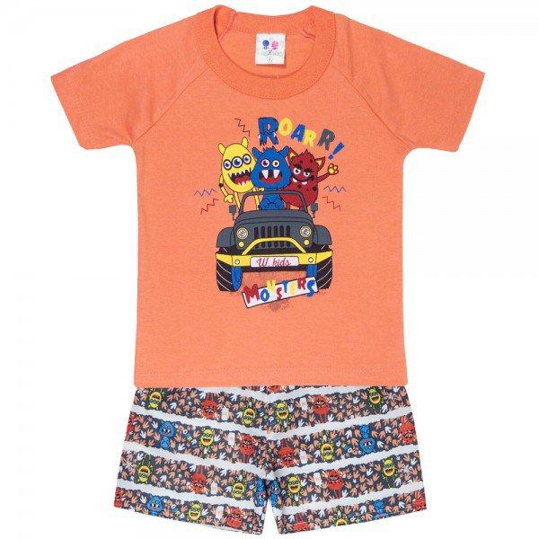 conjunto camiseta carro e bermuda moletinho papoula 401 4695