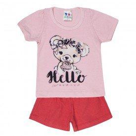 conjunto menina rosa bebe silk hello urso e short 198 00488