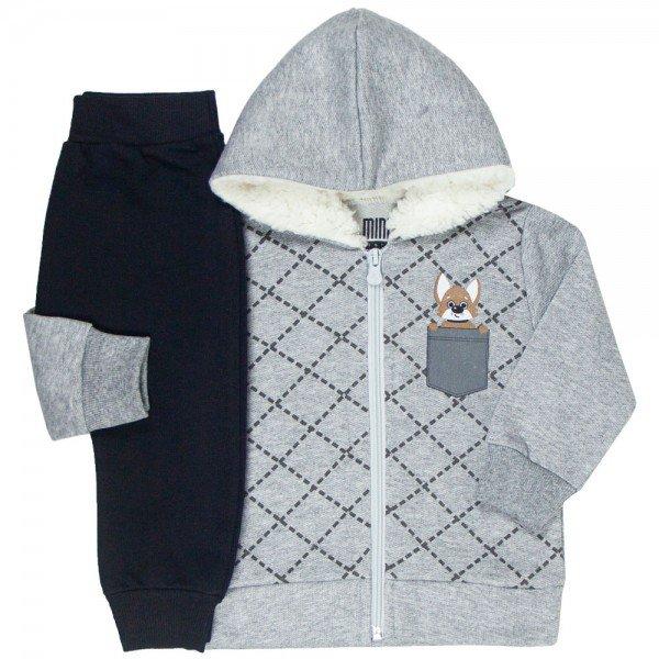 conjunto bebe masculino jaqueta e calca saruel dog mescla preto kw408 9915