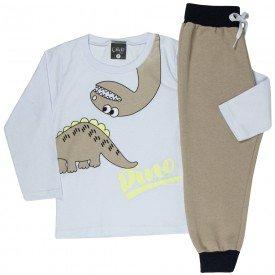 conjunto infantil masculino camisa meia malha e calca moletom dino brancomarfim 1351