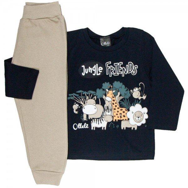 conjunto infantil masculino camisa meia malha e calca moletom jungle friends pretomarfim 1355