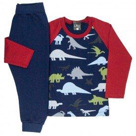 conjunto infantil masculino camisa meia malha e calca moletom dinossauros marinho 1357