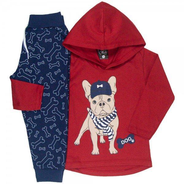 conjunto infantil masculino camisa meia malha e calca moletom dog vermelhomarinho 1349