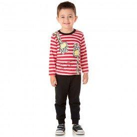 conjunto infantil masculino camisa e calca moletom girafinha vermelhopreto 1353 2
