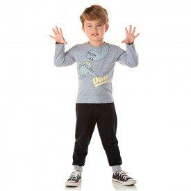 conjunto infantil masculino camisa meia malha e calca moletom dino mescla preto 1351