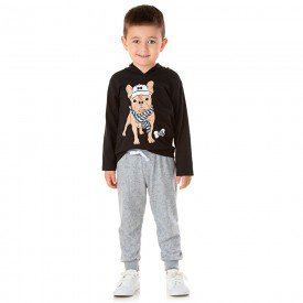 conjunto infantil masculino camisa meia malha e calca moletom dog preto mescla 1349