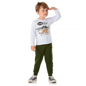 conjunto infantil masculino camisa meia malha e calca moletom jungle friends branco militar 1355