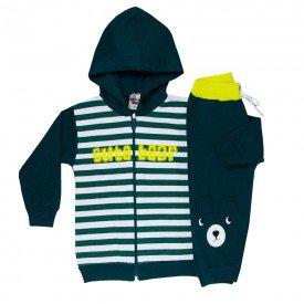 conjunto infantil masculino jaqueta cute bear com capuz e calca verde escuro 4896 2