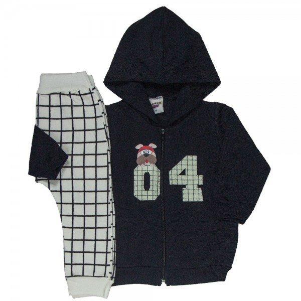 conjunto bebe masculino jaqueta 04 com capuz e calca saruel xadrez preto marfim 4884