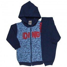 conjunto infantil masculino jaqueta dino com capuz e calca marinho azul claro 4897
