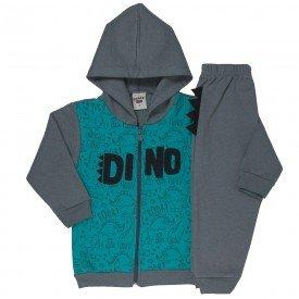 conjunto infantil masculino jaqueta dino com capuz e calca chumbo verde agua 4897