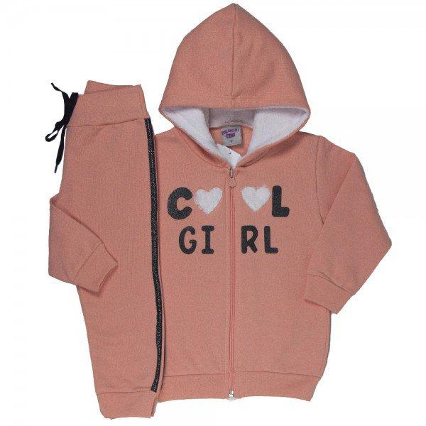 conjunto infantil feminino jaqueta e calca cool girl pessego 4818