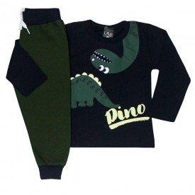 conjunto infantil masculino camisa meia malha e calca moletom dino preto verde militar 1351