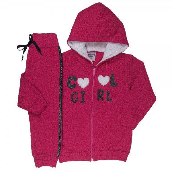 conjunto infantil feminino jaqueta e calca cool girl rosa pink 4818