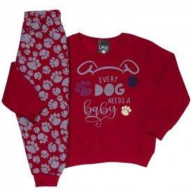 conjunto infantil masculino moletom dog patinhas vermelho 1358