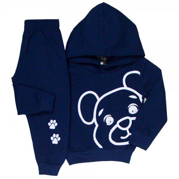 conjunto infantil masculino moletom urso marinho 1348