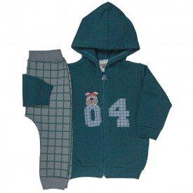 conjunto bebe masculino jaqueta 04 com capuz e calca saruel xadrez verde escuro chumbo 4884
