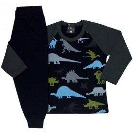 conjunto infantil masculino camisa meia malha e calca moletom dinossauros preto 1357