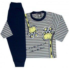 conjunto infantil masculino camisa e calca moletom girafinha mescla marinho 1353