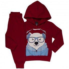 conjunto infantil masculino moletom urso de oculos vermelho 1356