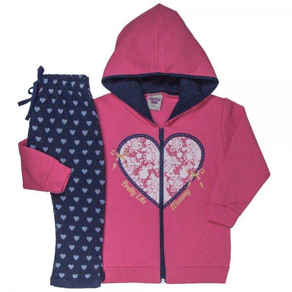 conjunto infantil feminino jaqueta e calca saruel coracao rosa marinho 4827