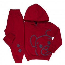 conjunto infantil masculino moletom urso vermelho 1348