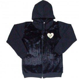 jaqueta infantil feminina moletom com pelo preto 4856