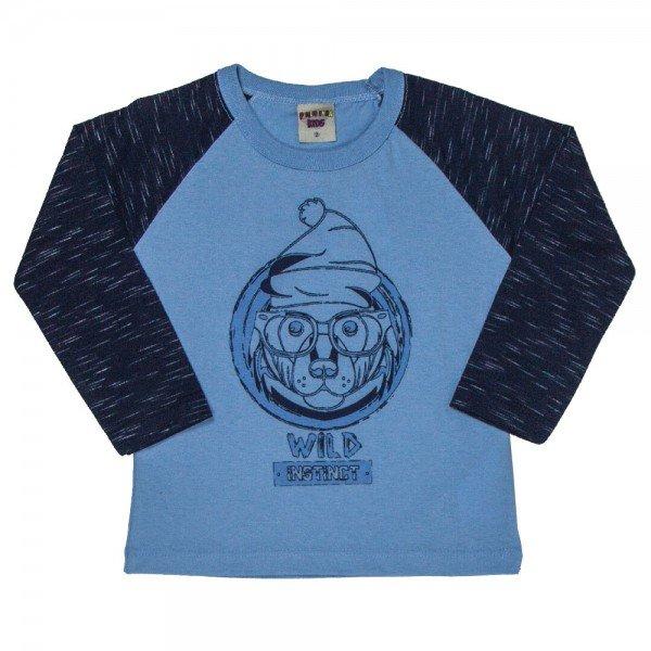 camiseta infantil masculina cachorrinho meia malha azul claro marinho 4903