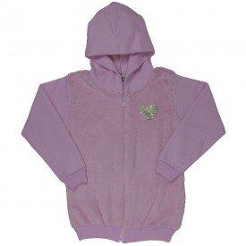 jaqueta infantil feminina moletom com pelo rosa claro 4856