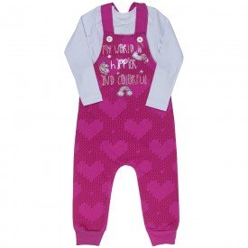 conjunto jardineira infantil feminino e body unicornio pink branco kw109 9935