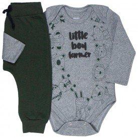 conjunto bebe masculino body safari e calca saruel mescla verde musgo kw409 9917