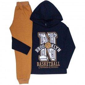 conjunto infantil masculino camiseta e calca moletom basketball marinho mostarda kw608 9940