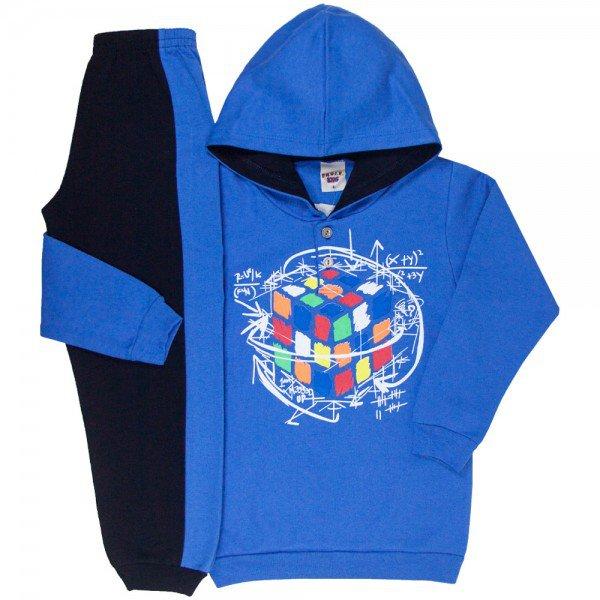 conjunto infantil masculino moletom dado magico com capuz e calca azul palacio preto 4914 9819