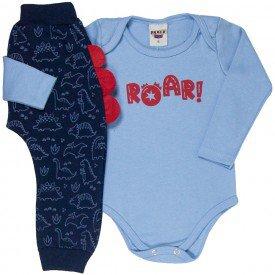 conjunto bebe masculino body roar e calca saruel dino azul clar marinho 4872 4947 9745