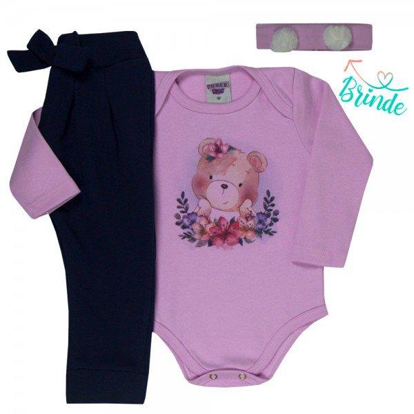 conjunto bebe feminino body urso e calca saruel faixa de brinde rosa claro azul marinho 4802 4939