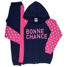 conjunto infantil feminino jaqueta e calca estrela azul marinho rosa 4846 9889