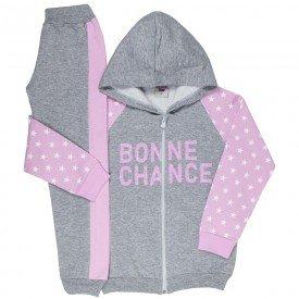 conjunto infantil feminino jaqueta e calca estrela mescla rosa claro 4846 9890