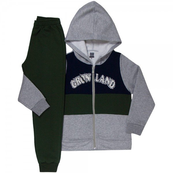 conjunto infantil masculino jaqueta gronland mescla verde musgo marinho kw604 9937