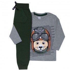 conjunto infantil masculino camiseta e calca moletom saruel mescla verde musgo kw507 9931 2