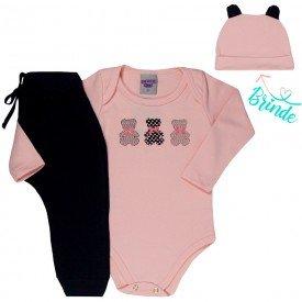 conjunto bebe feminino body ursinho e calca saruel touca de brinde salmao preto 4808 4940