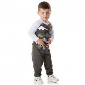 conjunto infantil masculino camisa meia malha e calca moletom dinossauros chumbo 1357 9990