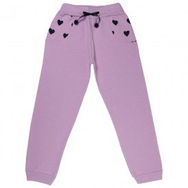 calca infantil feminina moletom coracao rosa claro 4855 9903