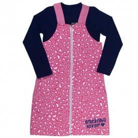 conjunto salopete infantil feminino e blusa oncinha marinho rosa kw209 9944 5