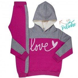 conjunto infantil feminino moletom love pink mescla kw207 9942 4