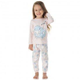 pijama infantil feminino meia malha ovelha rosa claro 1327 10002