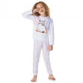 pijama infantil feminino meia malha good night branco 1337 10003