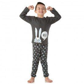 pijama infantil masculino meia malha coelho chumbo 1369 10008
