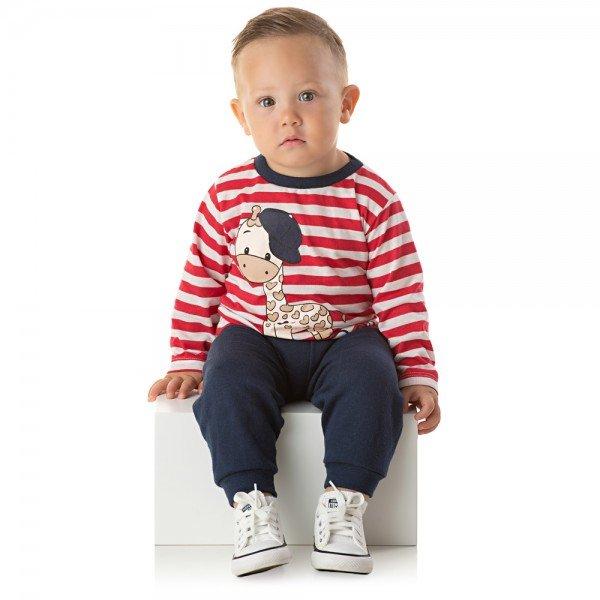 conjunto bebe menino camiseta listrada it s a boy e calca moletom vermelho marinho 1346 10006