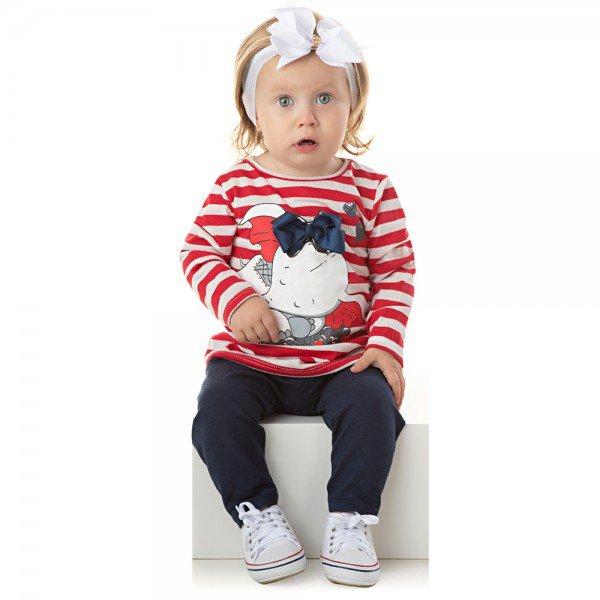 conjunto bebe menina blusa listrada com laco e legging marinho 1308 9993
